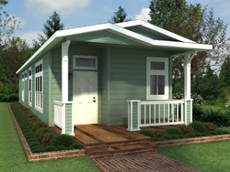Cheap green quest manufactured home debuts in california for Cheap efficient homes