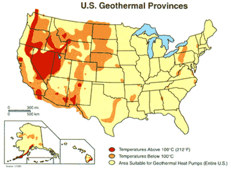 Geothermal Power Has Huge Jobs Potential Earthtechling - Geothermal-map-of-the-us