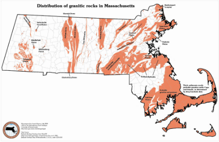 Massachusetts granite distribution, geothermal potential