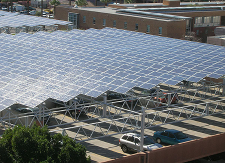 photovoltaic panels over parking lot