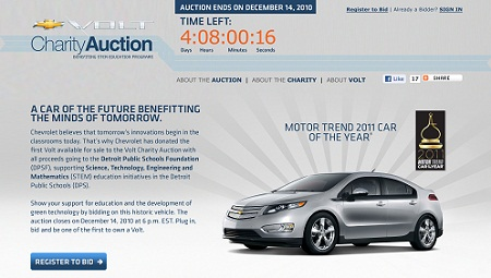 Chevy Volt auction homepage