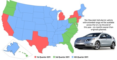 GM Chevrolet Volt revised rollout map