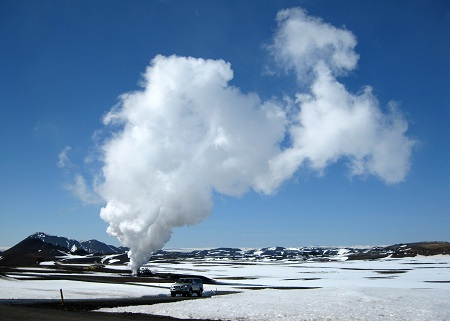 Krafla volcano, iceland, geothermal research