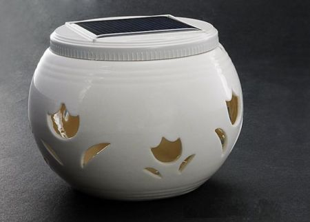 Chinese Ivory Ceramic Solar Light Jar with Flower Cut-Outs