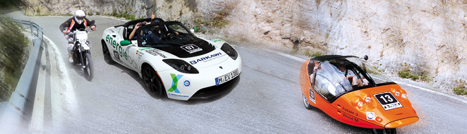 Photo of electric vehicles in the E-Miglia european race.