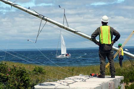 Raising a Met Tower for the Block Island Project
