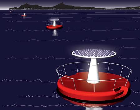 Lanterna di mare solar bouy installation