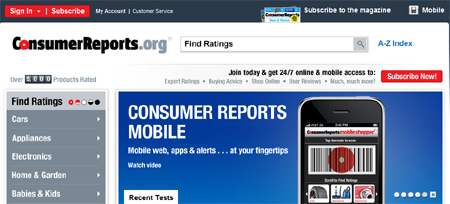 Consumer reports screenshot