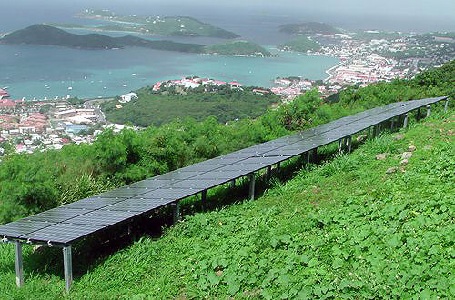 The idyllic view of the coastline on St. Thomas, U.S. Virgin Islands, on Skyline Road near the capital Charlotte Amalie isn't spoiled by a 10-kilowatt photovoltaic system  Credit: Don Buchanan, USVI Energy Office