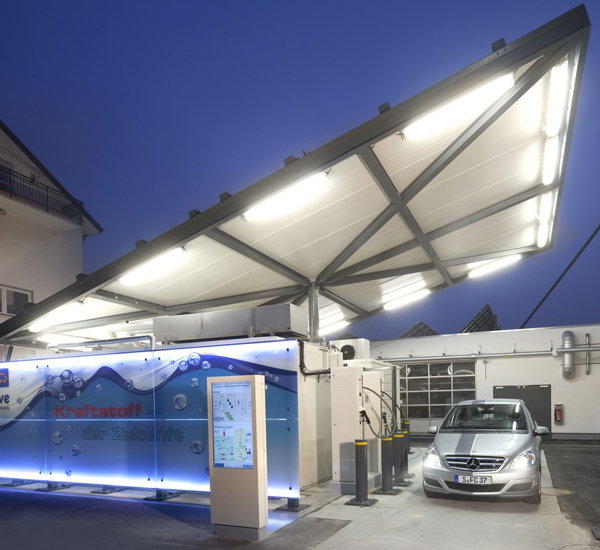A solar energy filling station in Freiburg, Germany