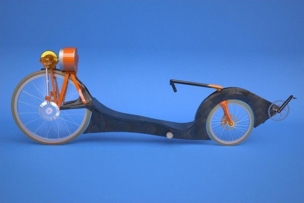 Recumbent bike with flywheel storage.