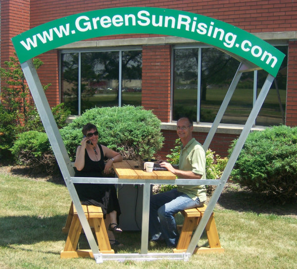 Green Sun Rising Solar Bench