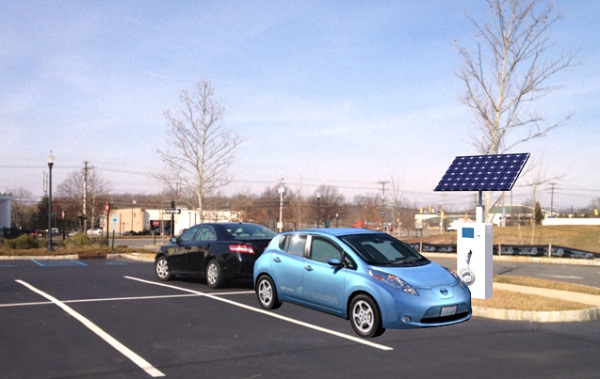 Illustration of SunStation solar EV charger (image via Princeton Satellite Systems)