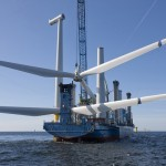 Siemens turbines being installed at Windpark Horns Reef 2 off Denmark, in the North Sea (image via Siemens)