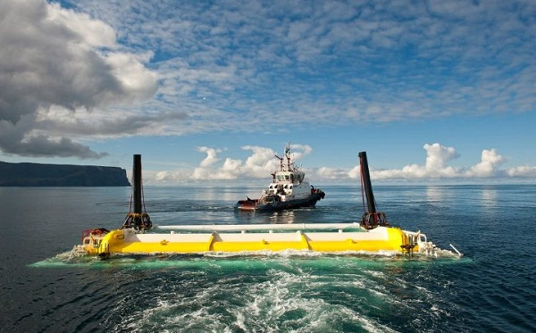 Wave energy device towed into place at the European Marine Energy Center (image via Aquamarine Power)