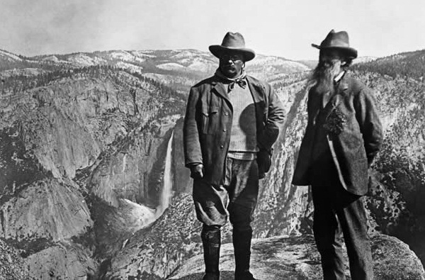 Roosevelt and John Muir at Yosemite, 1906 (image via Library of Congress)