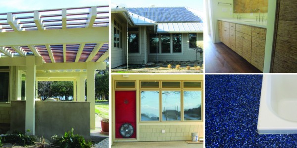 Green elements of the Cape Charles home include (clockwise from left): a pergola to provide shade, a solar PV array, cork- and bamboo-lined kitchen surfaces, recycled-content countertops and energy efficient windows. Images via J. Harrison, Architect.