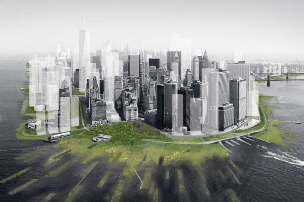 Image of planned green buffer for Manhattan, via Architecture Research Office.