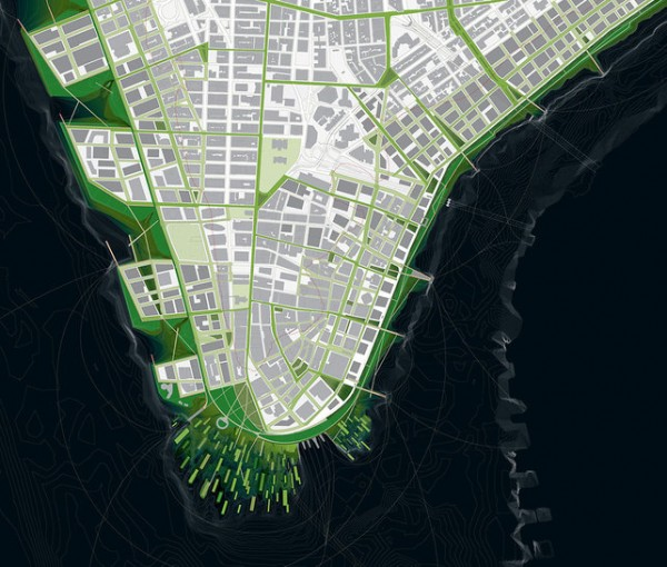 Image of re-engineered lower Manhattan street grid, via Architecture Research Office