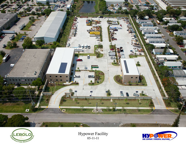 The Hypower Maintenance Facility complex in Pompano Beach earned LEED Platinum status. Image via Hypower Inc.