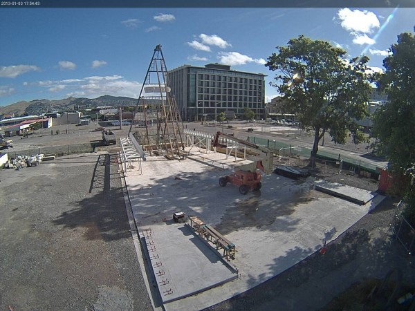Video grab from construction site camera showing progress on temporary cathedral as of Jan. 3, 2013. Image via Anglican Diocese of Christchurch.