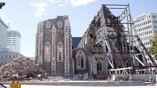 An early 2012 view of restoration work being done on the original Christchurch Cathedral, which was heavily damaged by the February 2011 earthquake. Image via Anglican Diocese of Christchurch.