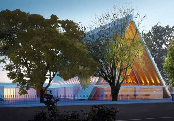 Artist's rendering of temporary cathedral design. Image via Christchurch Cathedral.
