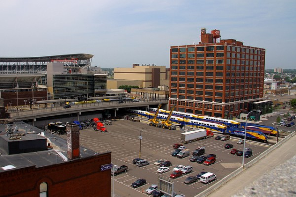 The Ford Center, seen with the adjacent rail system and nearby Target Field baseball stadium. Image via Mulad/Flickr.