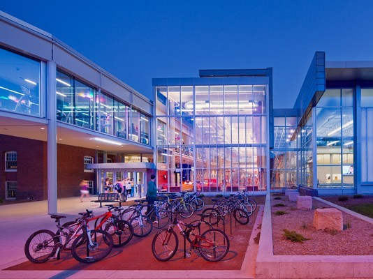 The bike-friendly exterior of Iowa State University's new LEED Platinum State Gym. Image via RDG Planning & Design.