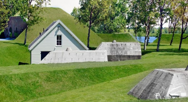 "Some of the original buildings and bunkers at Fort ""Werk aan 't Spoel"" are preserved in the new recreation area. Image by Rob 't Hart via Rietveld Landscape."