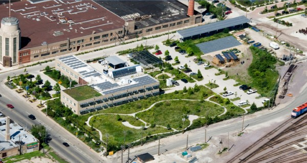 An aerial view of the 17-acre former industrial site that is now home of the Chicago Center for Green Technology. Image via Farr Associates.