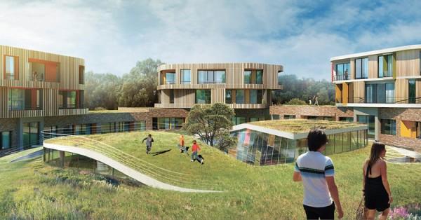 Grassy areas in planned central quad. Artist's conception via Atrium Studios.