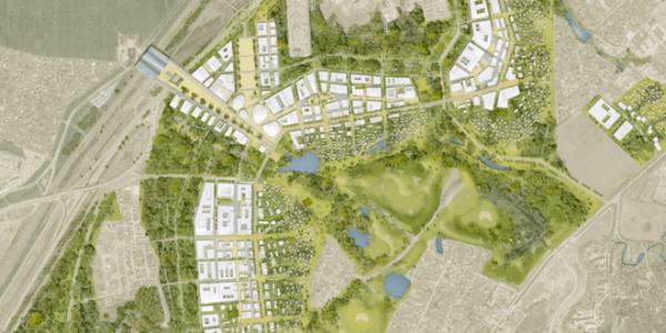 Aerial view of entire Skolkovo Innovation City complex. Artist's conception via Skolkovo Foundation.