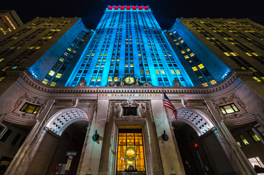 The 34-story Helmsley Building in New York in now lit each night with more than 700 energy-efficient LED bulbs. Image by Evan Joseph via Archpaper.