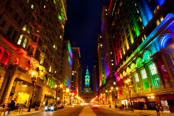 Philadelphia's City Hall and other buildings awash in LED lights for a 2011 arts festival. Image via The Lighting Practice.