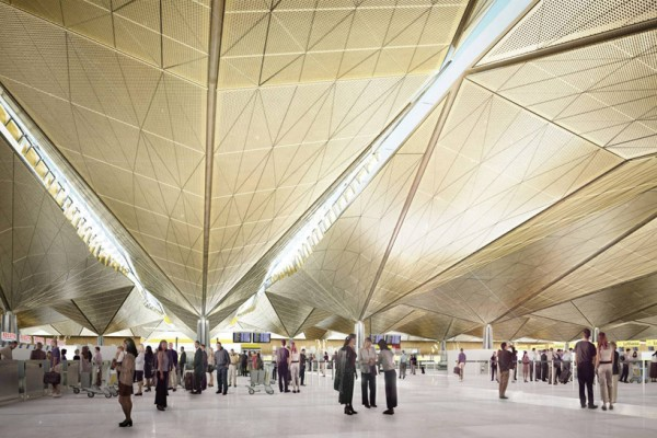 Artist's conception of high-tech undulating roof with skylights at Russia's Pulkovo Airport. Image via Grimshaw Architects.