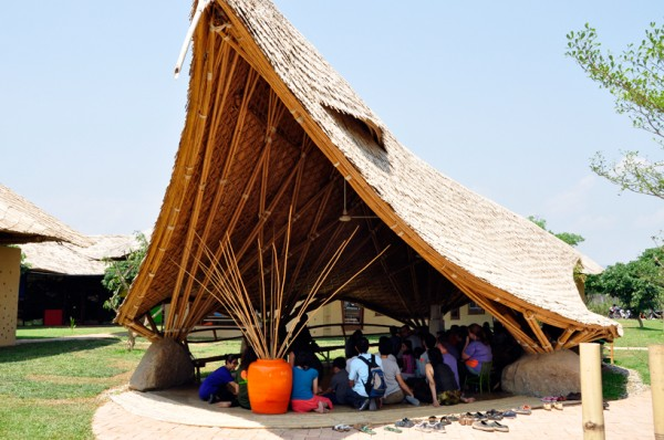 One of several open-air pavilions where children can gather for outdoor assemblies. Image via Panyaden School.