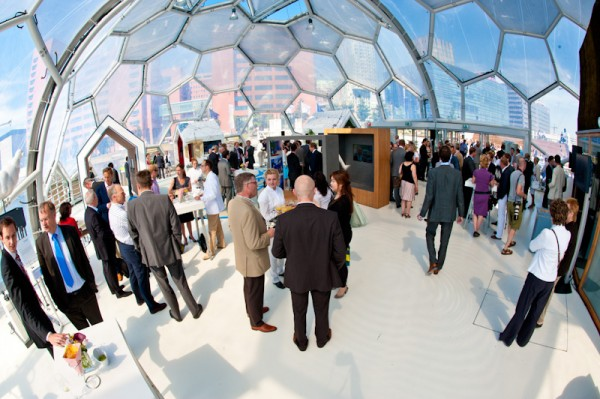 Interior of Floating Pavilion during a reception at the Sustainability in the Maritime Industry Conference in April 2012. Image via SMI Conference.