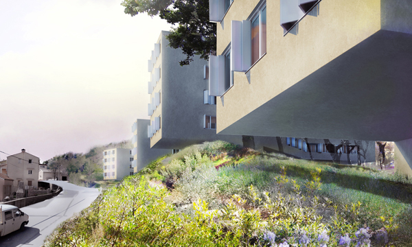 Artist's rendering of Interpolation housing project overhanging green space. Image via Zoka Zola Architecture + Urban Design.