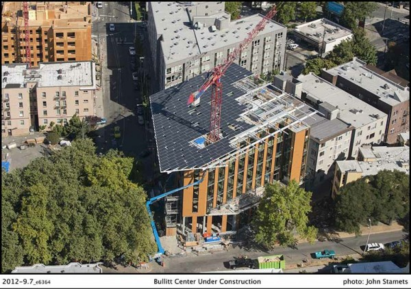 Aerial view of the Bullitt Center's footprint . Image via Bullitt Foundation.