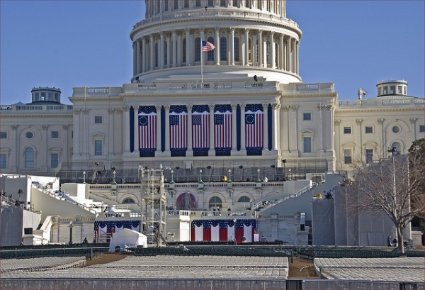 Image of the 2013 inauguration stage preparations by Ron Cogswell via Flickr.
