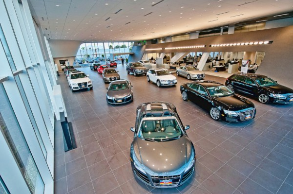 The LAcarGUY facility is the largest Audi showroom in the country, with room to display up to 17 new model. Image via Audi Pacific.