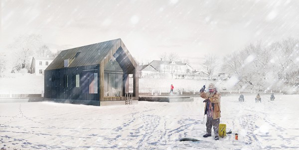 Artist's impression of Latvia's Floating Barn in a colder, icebound time of year. Image via NRJA.