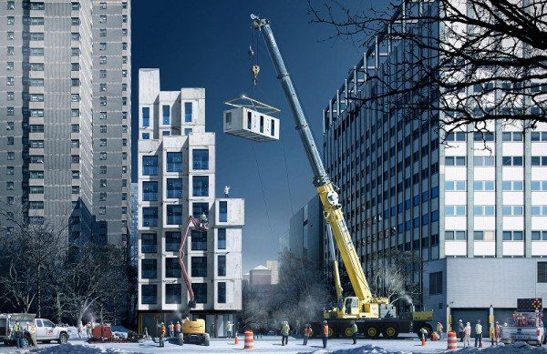 The prefab units in the My Micro NY project would be stacked like blocks at the Kips Bay site. Image via NYC Mayor's Office.