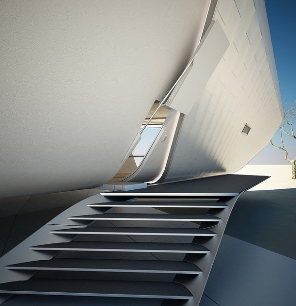 Steps lead to a hydraulic doorway. Image by Christopher Daniel via Violent Volumes.