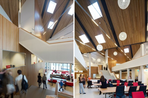 These two interior views show how the large common areas of the building are lit naturally by overhead skylights. Image via Mecanoo.