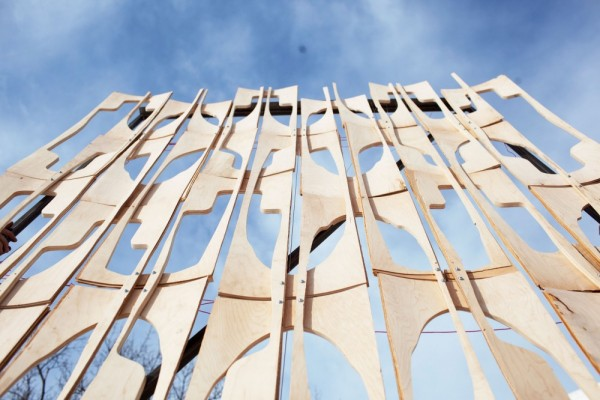 "A test wall made of scrap wood, known as ""bones"" and ""blanks,"" that are the byproduct of the skateboard-making process. Image via MoMA PS1."