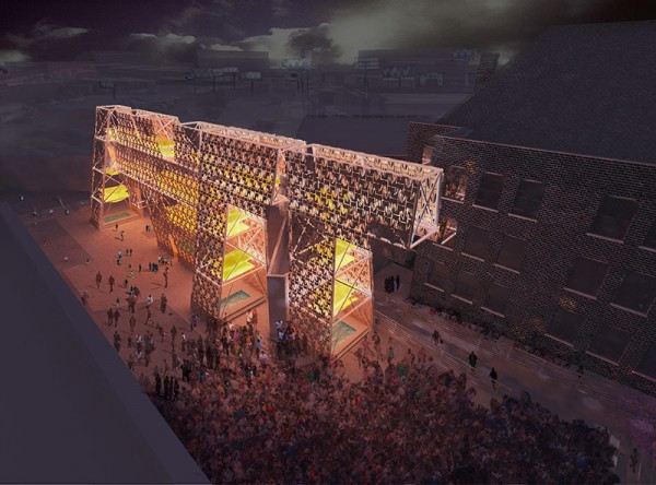 Artist's rendering of what a nighttime concert will look like this summer at PS1. Image via CODA.