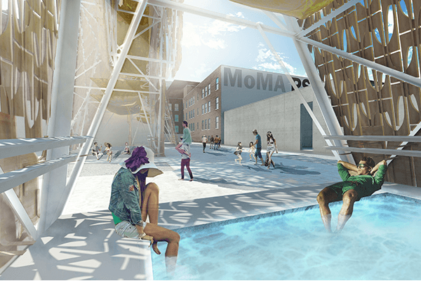 "The shade-producing ""Party Wall"" will also include shallow pools and sprayed mist to keep PS1 visitors cool. Image via CODA."