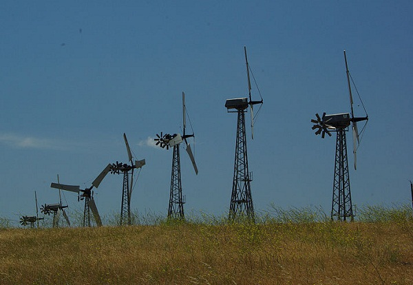 Turbines in the Altamont Pass Wind Resource Area (image via Wikimedia Commons)